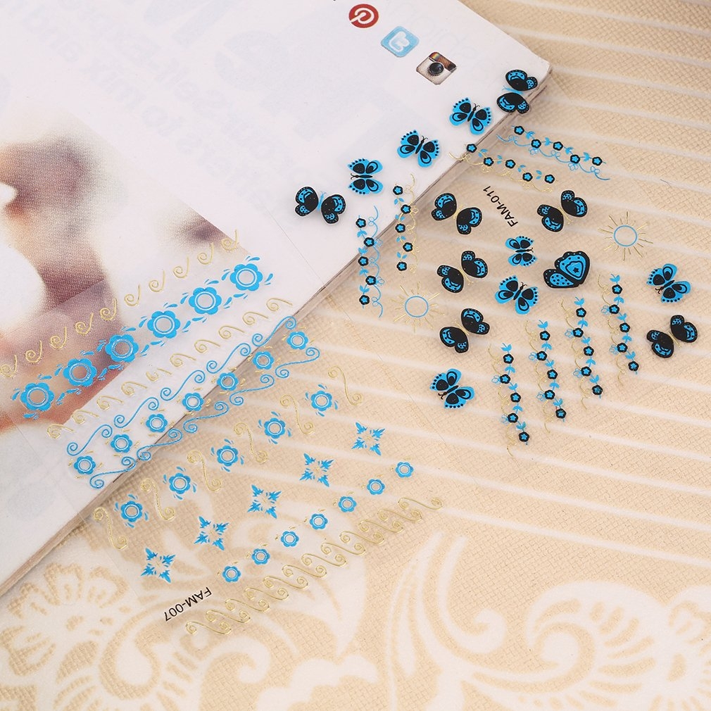Blue Flowers 3D Nail Art Sticker Decal Decoration Manicure Water Transfer