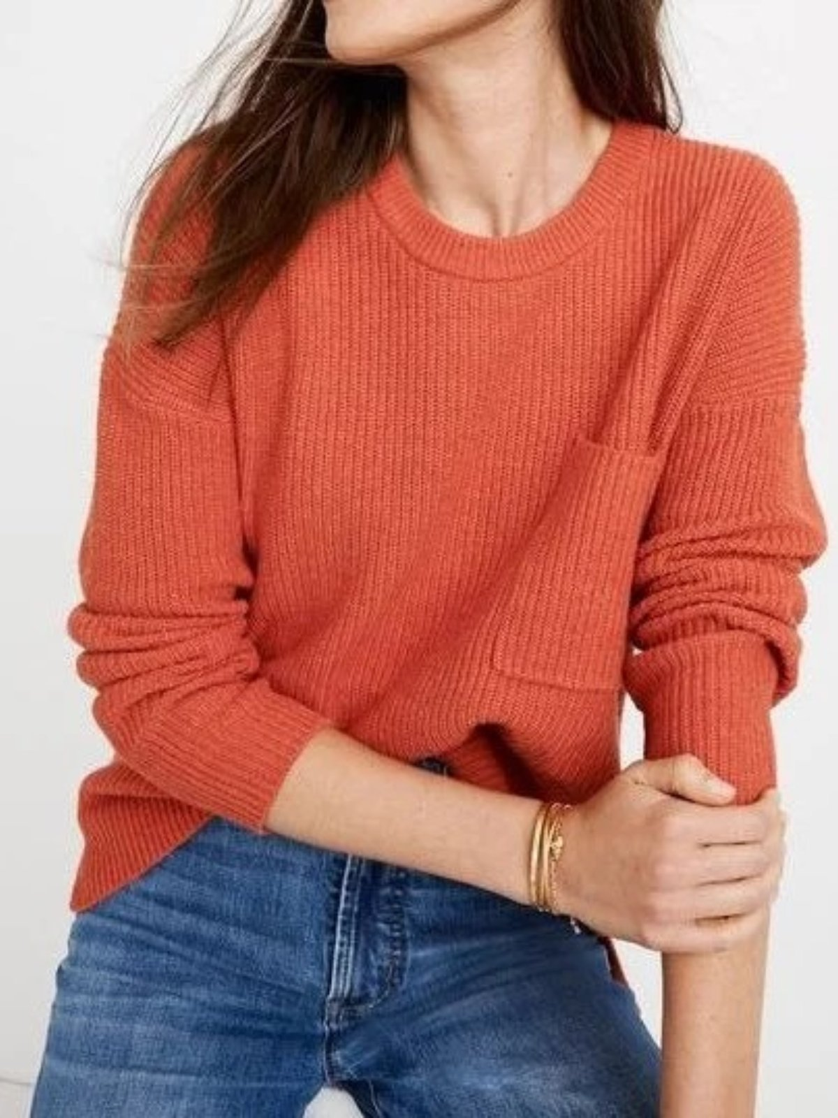 Light Orange Long Sleeve Knitted Round Neck Casual Shirts & Tops