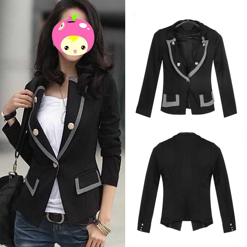 Women Casual OL Business long Sleeve Slim Suit Blazer Jacket Coat Outerwear