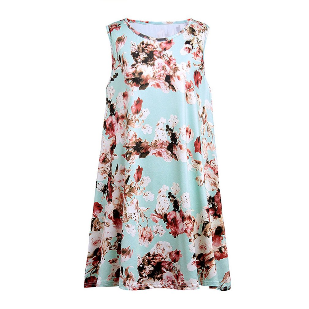 Summer Women Dress Floral Printing Vest Dress Sleeveless Round Collar Fashion Trendy Dress Casual A-line Dress