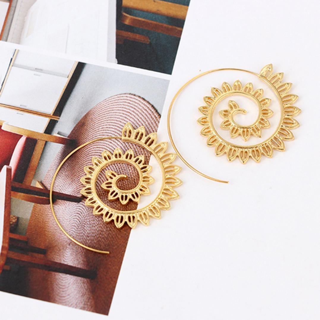 Spiral Alloy Water Drop Shape Party Hoop Earrings Fashion Lady Eardrop Jewelry