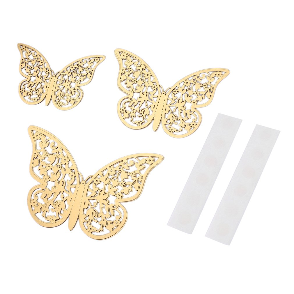 12pcs G-007 3D Butterfly Stickers Hollow DIY Decal Wall Party Wedding Decor
