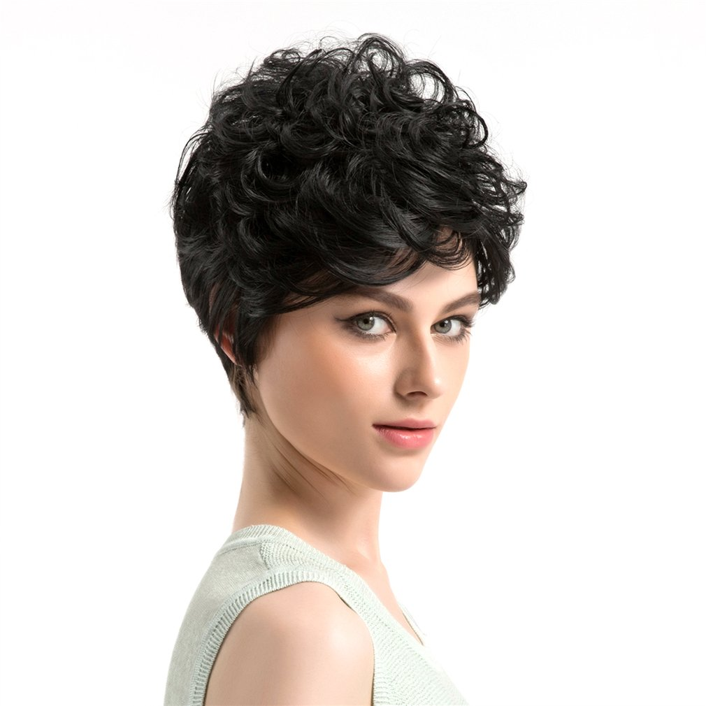 WIG365 Super Cool 22CM Short Style Women Wavy Wigs Synthetic Hair Wigs Black