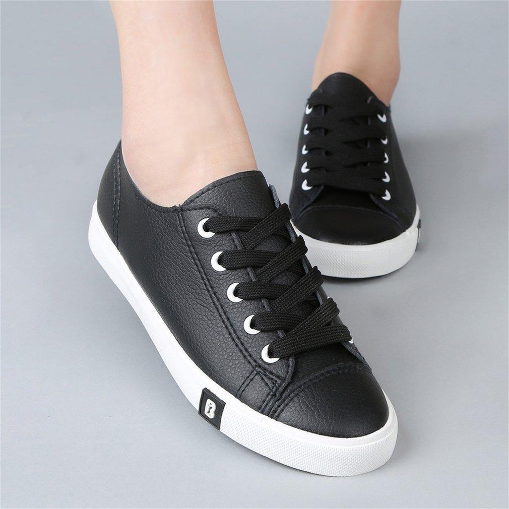 Renben 8351 Women PU Leather Shoes Low Top Casual Anti Slip Rubber Shoes