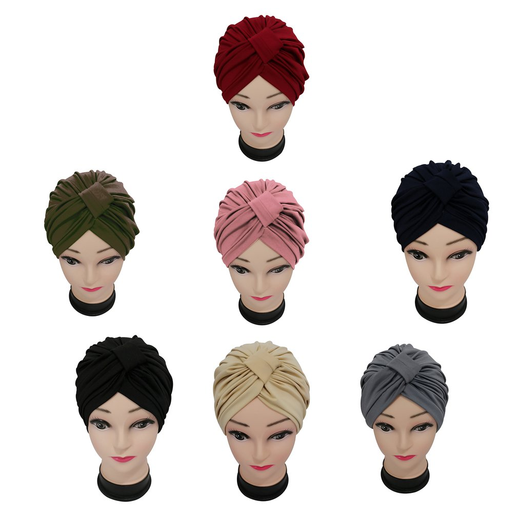Modal Women Indian Stretchable Pleated Turban Hat Elastic Solid Color Headwrap Head Wrap Hijab Comfortable Headband Bandana
