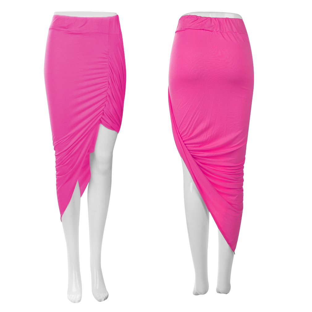 Draped Asymmetrical Wrapped High Low Fitted Cutout Slim Pencil Skirt  XL
