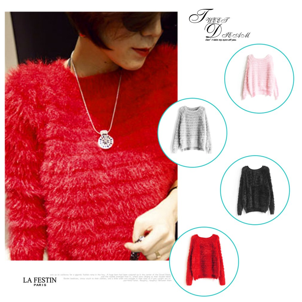 Comfortable Short Length Candy Color Sweater Woman Pullovers Knitting Tops