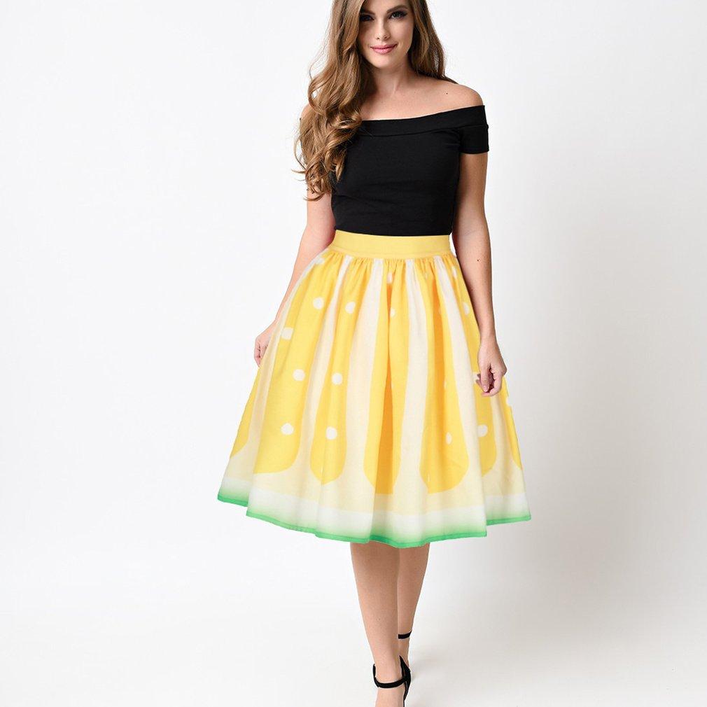 Women's Lemon Printed High Waist Expansion Skirt, Yellow