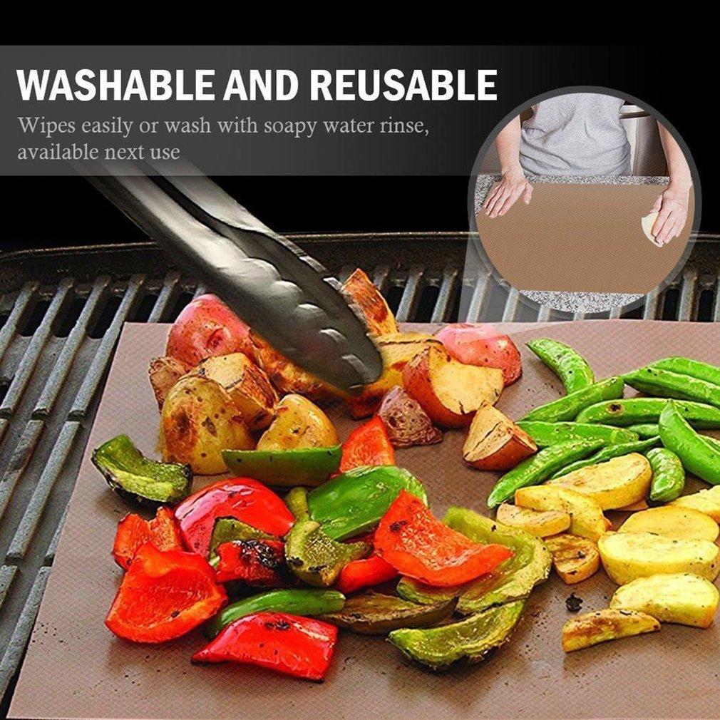 5PCS/SET Non-Stick BBQ Grill Mat Reusable Picnic Cooking Barbecue Grill Mat