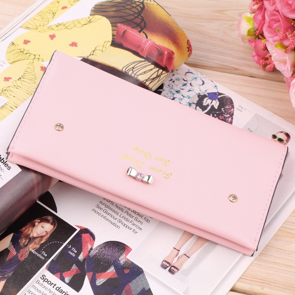 Women Fashion PU Leather Card Cash Wallet Button Clutch Purse Handbag Bag