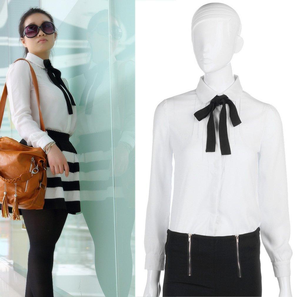 Women's Bowknot Chiffon T-shirt OL Lady Button Down Shirt Blouse