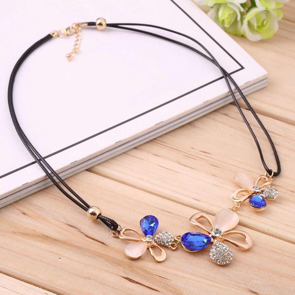 Korean Style Three-leaves Plum Flowers Full Opal Necklace PU Chain
