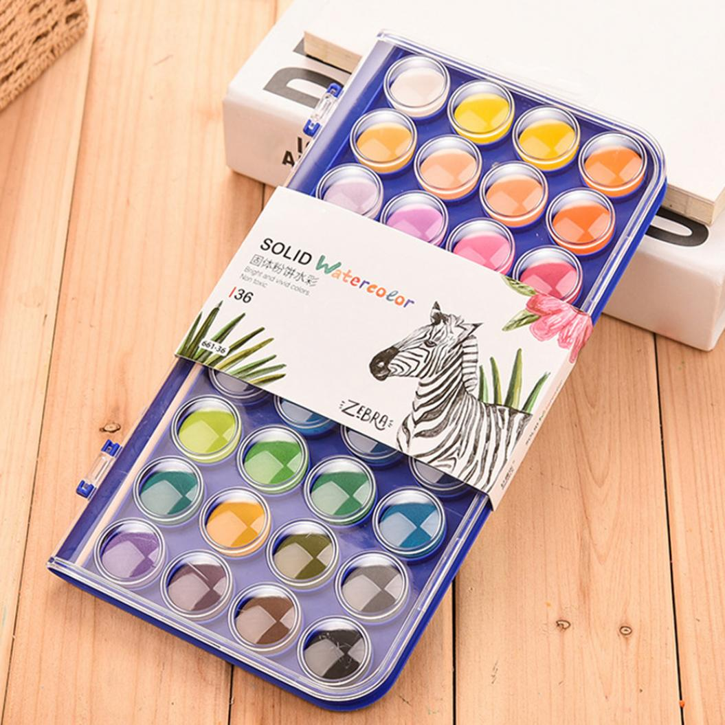 12/16/28/36 Colors Solid Pigment Watercolor Paints Student Artist Stationery