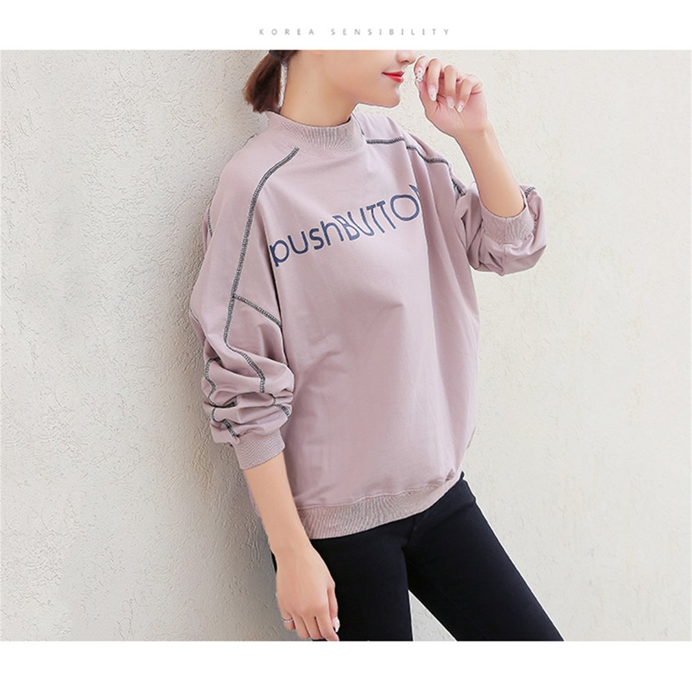 Spring and Autumn New Korean Semi-high Collar Long Sleeves Sweatershirt Women