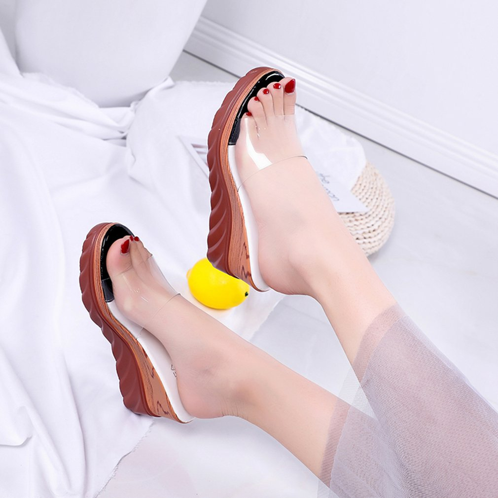 Fashion Summer Women High Slipsole Comfortable Slip-on Slippers Open Toe Shoes