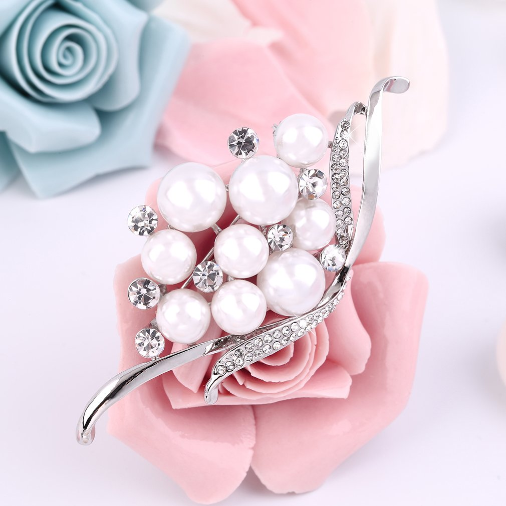 Women's Faux Pearl Beads with Rhinestone Brooch Pin