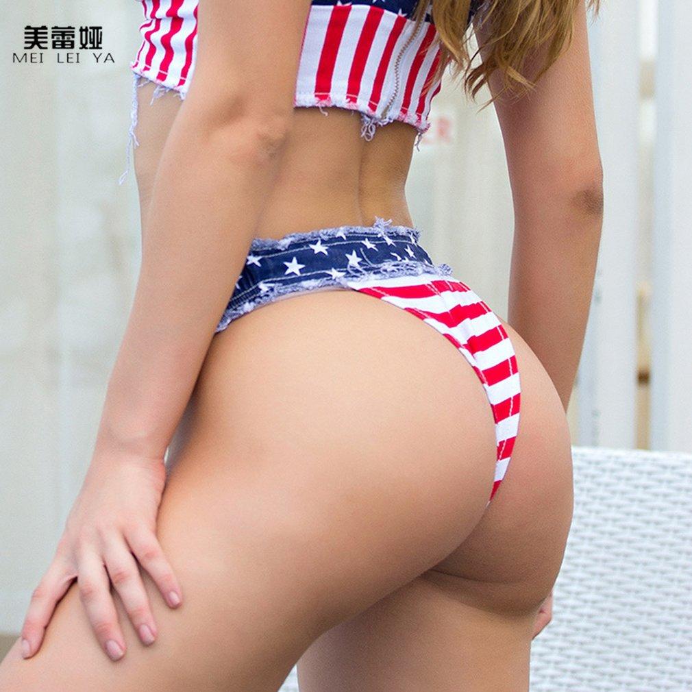 Meileiya Women Clothes Gallus Tops Or Super Shorts American Flag Pattern