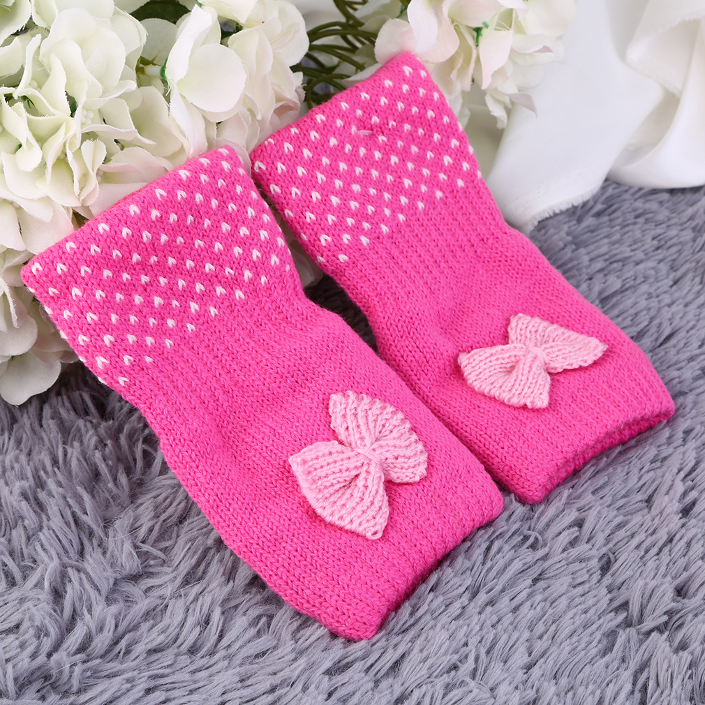 Bowknot Fingerless Wrist Knitted Wool Winter Warm Gloves Fashion Lovely