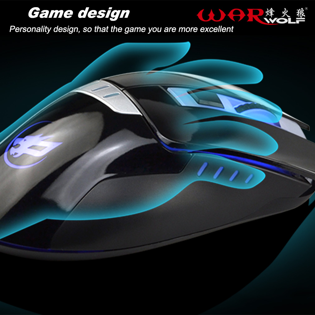 Wired Gaming Mouse 6 Button 2400 DPI Optical USB Gamer Computer Mouse Mice