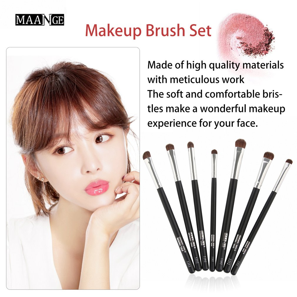 7pcs/set Professional Makeup Brushes Horse Hair Eye Shadow Eyebrow Brush