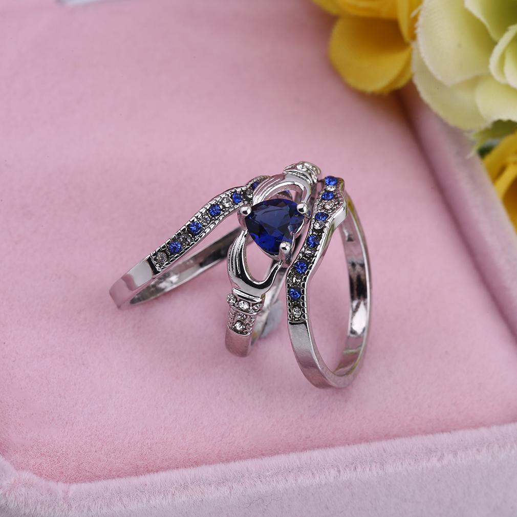 Three Layer Copper Blue Imitation Rhinestones Rings Party Love Finger Ring