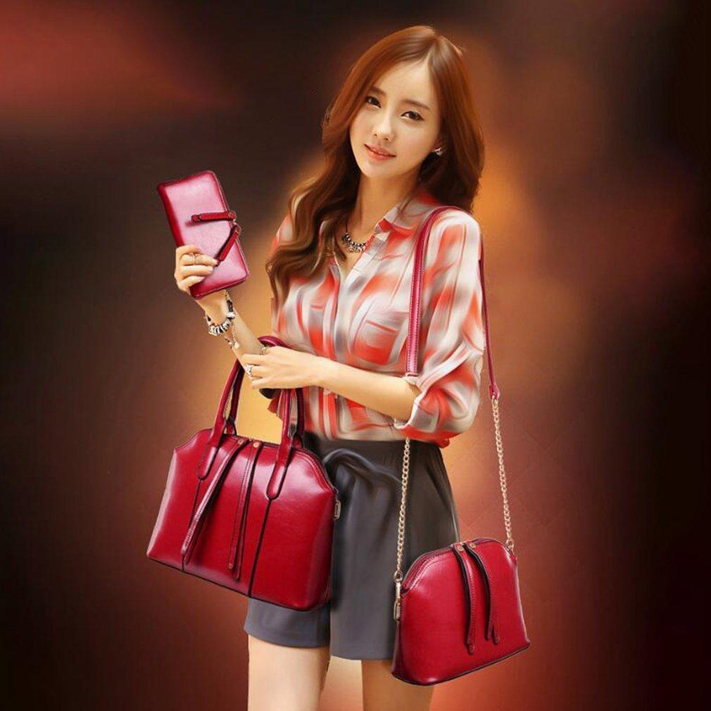 4 pieces/set Fashion Composit Bag Large Capacity PU Leather Handbag Tote Shoulder Bag Crossbody Bag Wallet Mobile Phone Bag