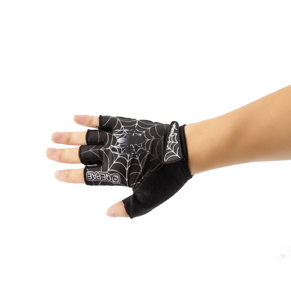 Outdoor Durable Cycling Equipment Spider Web Pattern Half Finger Gloves QG036