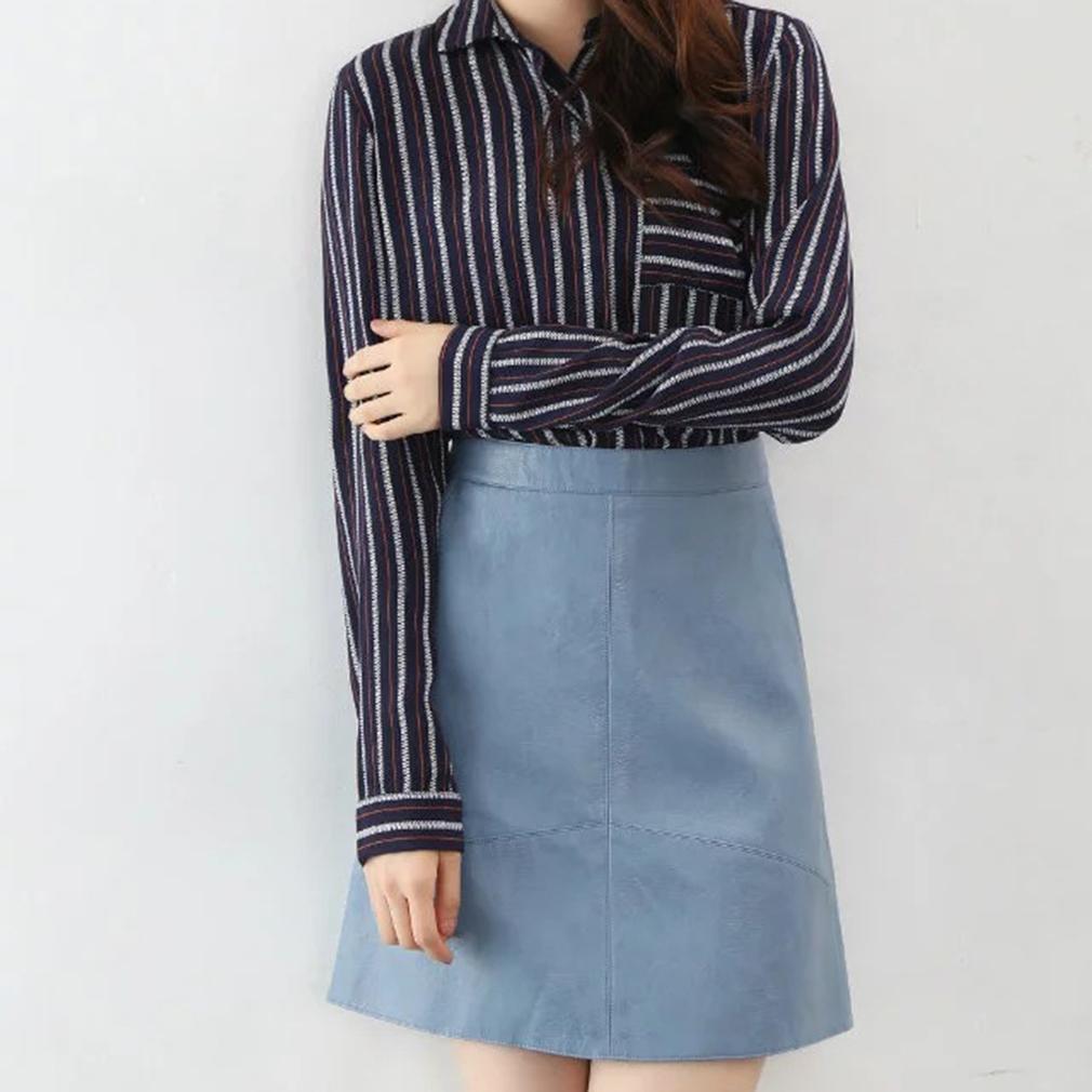 Fashionable Women Lady Autumn Winter High Waist Skirt PU Leather Skirt