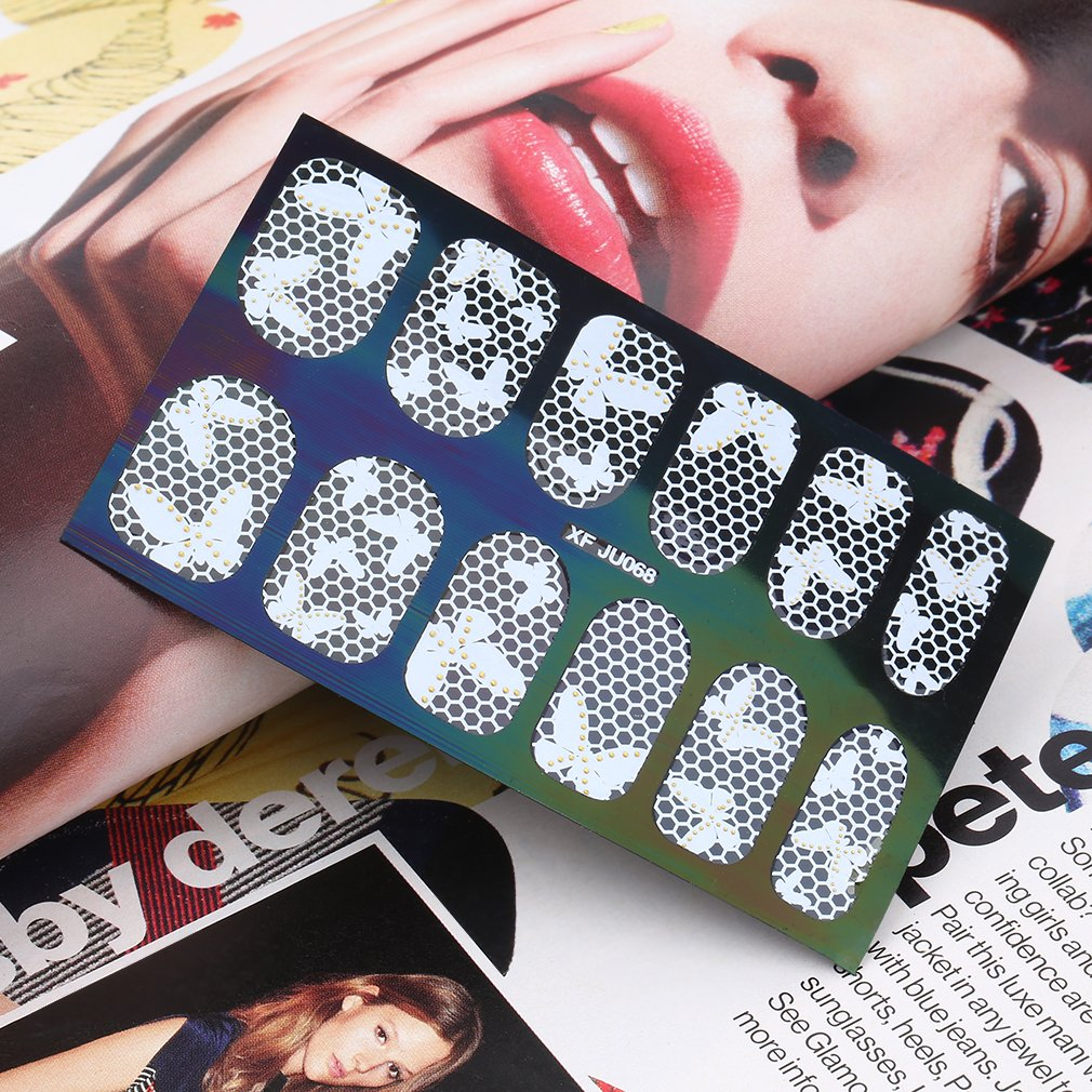 3D Lace Design Nail Art Manicure Tips Sticker Decal Wraps DIY Flower Nail