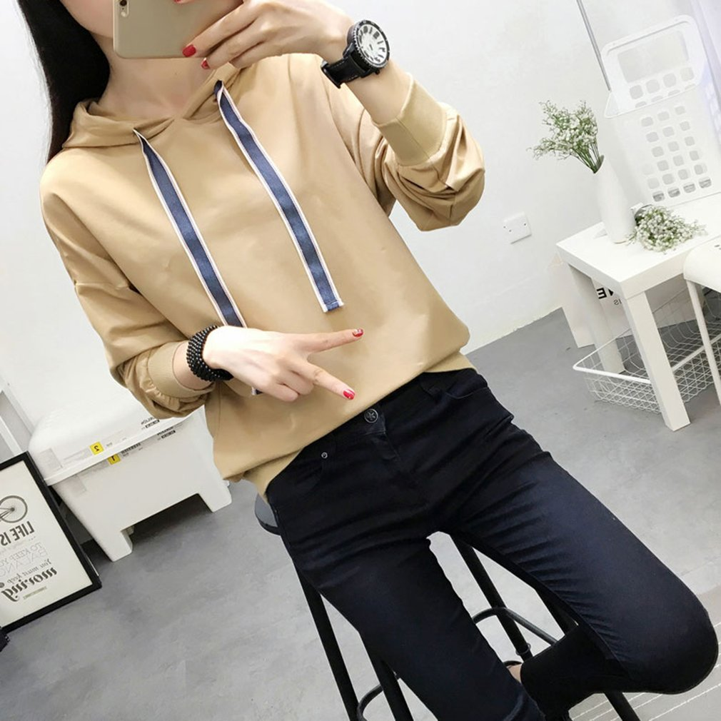 Solid Color Long-sleeved Pullovers Hoodie with Adjustable Drawstring for Women