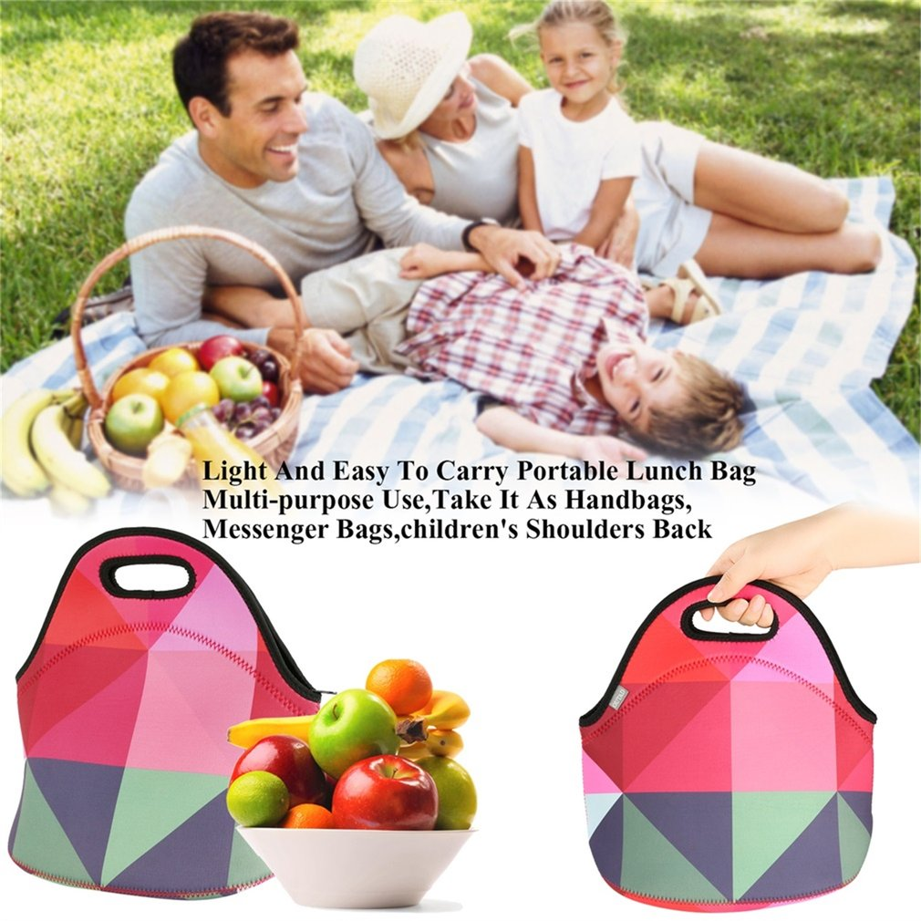OUTAD Handy Lunch Bag with Floral Print Durable Scuba Diving Material Lunch Bag
