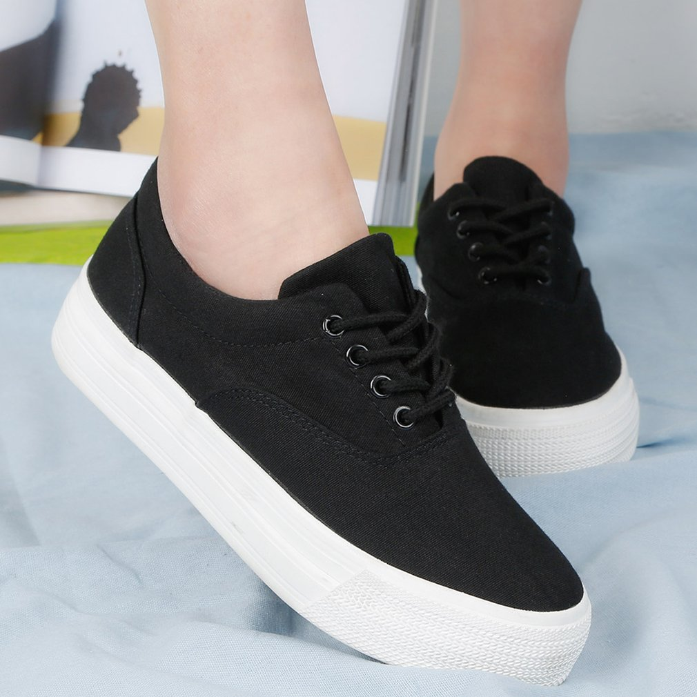 RenBen Women Canvas Shoes Spring Summer Thick Rubber Soles Young Girls Shoes