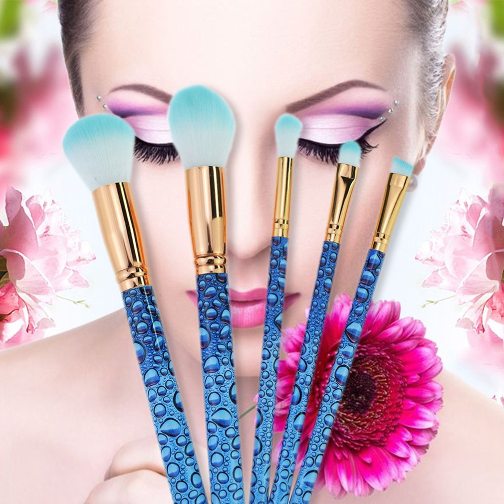 5PCS/SET Facial Makeup Brush Soft Fibre Hair Eye Shadow Foundation Brush Tool