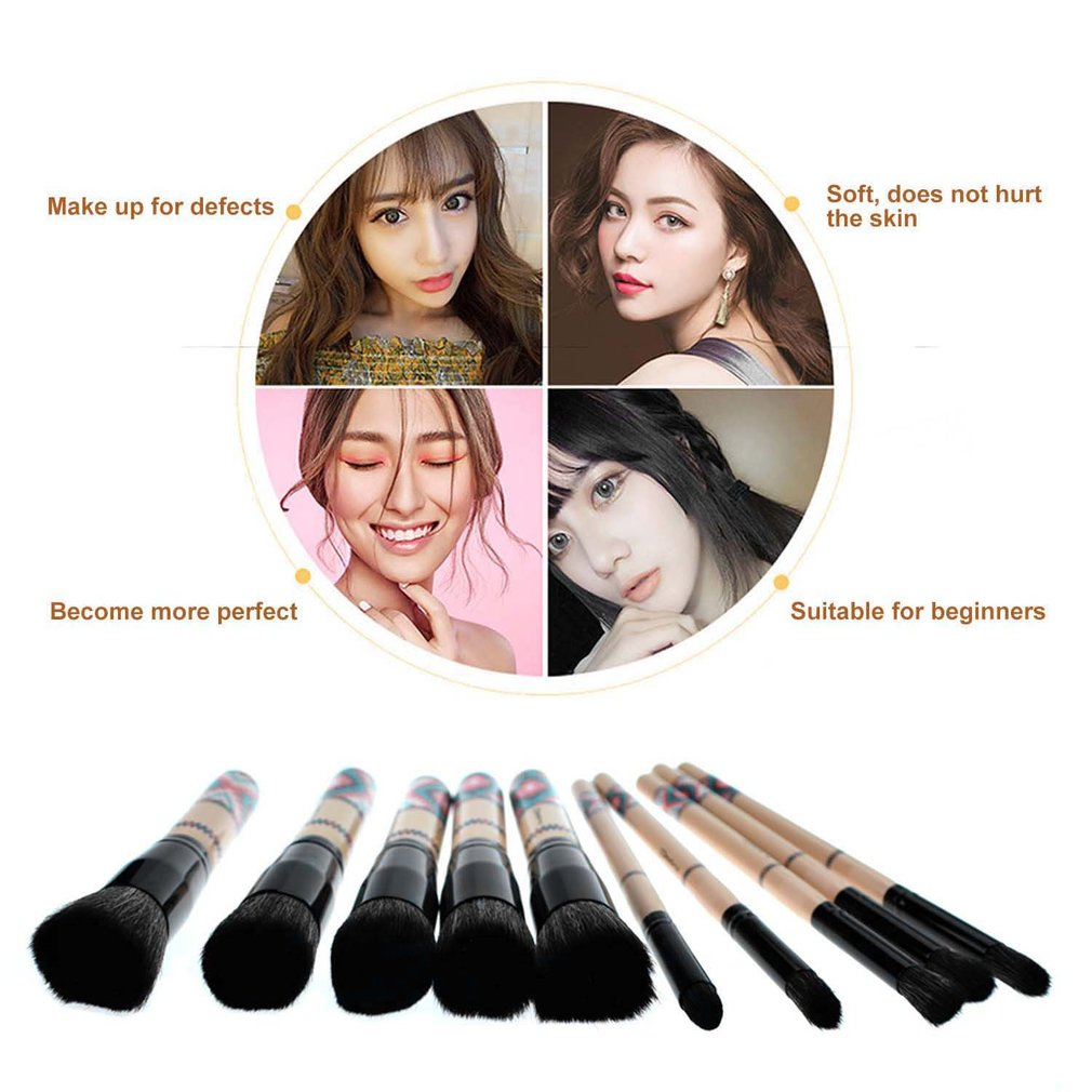 10pcs/set Professional Makeup Brush Set Cosmetics Tool With Geometric Printing