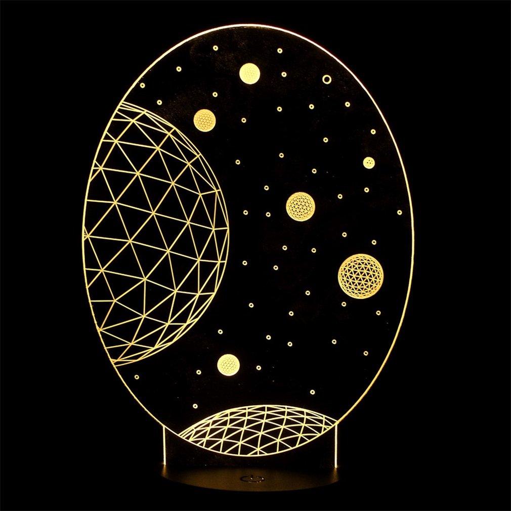3D Illusion Universe Pattern LED Table Night Light Bedroom Light Decor Light
