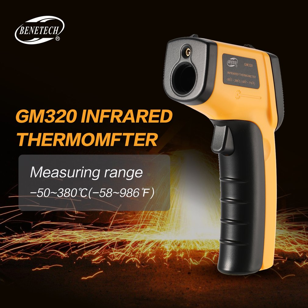 BENETECH GM320 LCD Non-Contact IR Laser Infrared Temperature Thermometer Gun