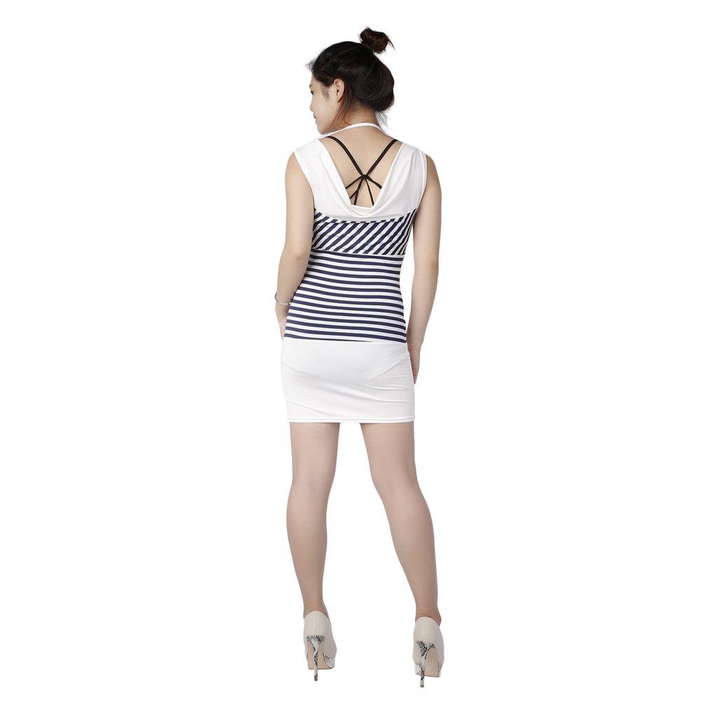 New Fashion Stripe Hip Skirts Women Sleeveless Hooded Fleeve Gored Skirts