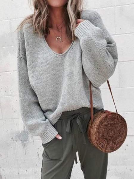 Women Casual V-neck Long Sleeved Sweater