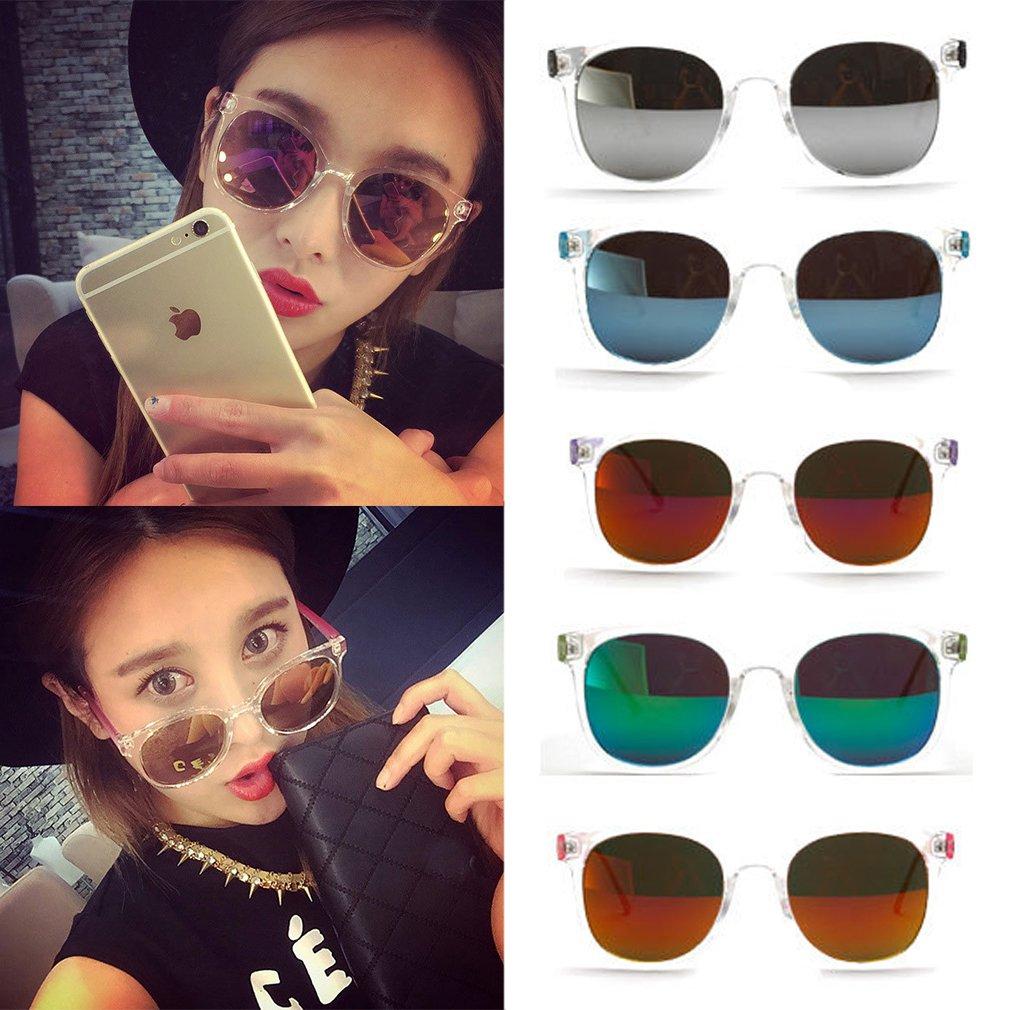 Bright Dual Color Round Eyewear Retro Vintage Women Sunglasses