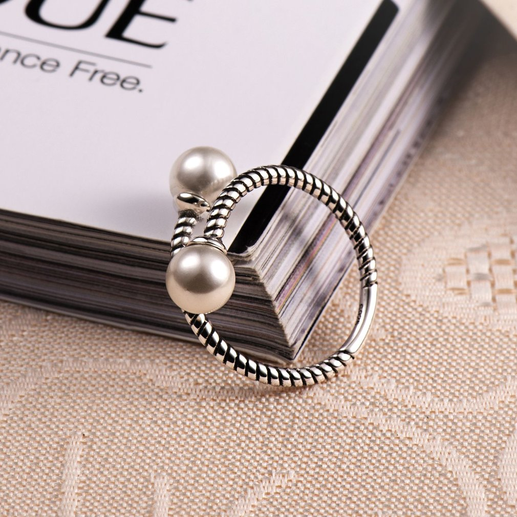 Classic 925 Sterling Silver Imitation Pearl Decoration Women Open Finger Ring