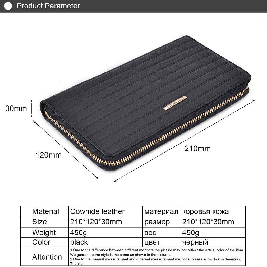 PLOVER GD6918-A Portable Long Handbag Genuine Cowhide Leather Wallet Purse