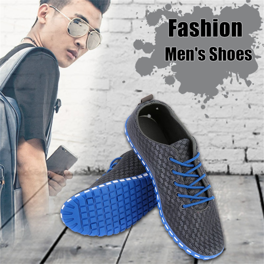 Fashion Stylish Men's Breathable Mesh Shoes Lace-Up Casual Sports Shoes