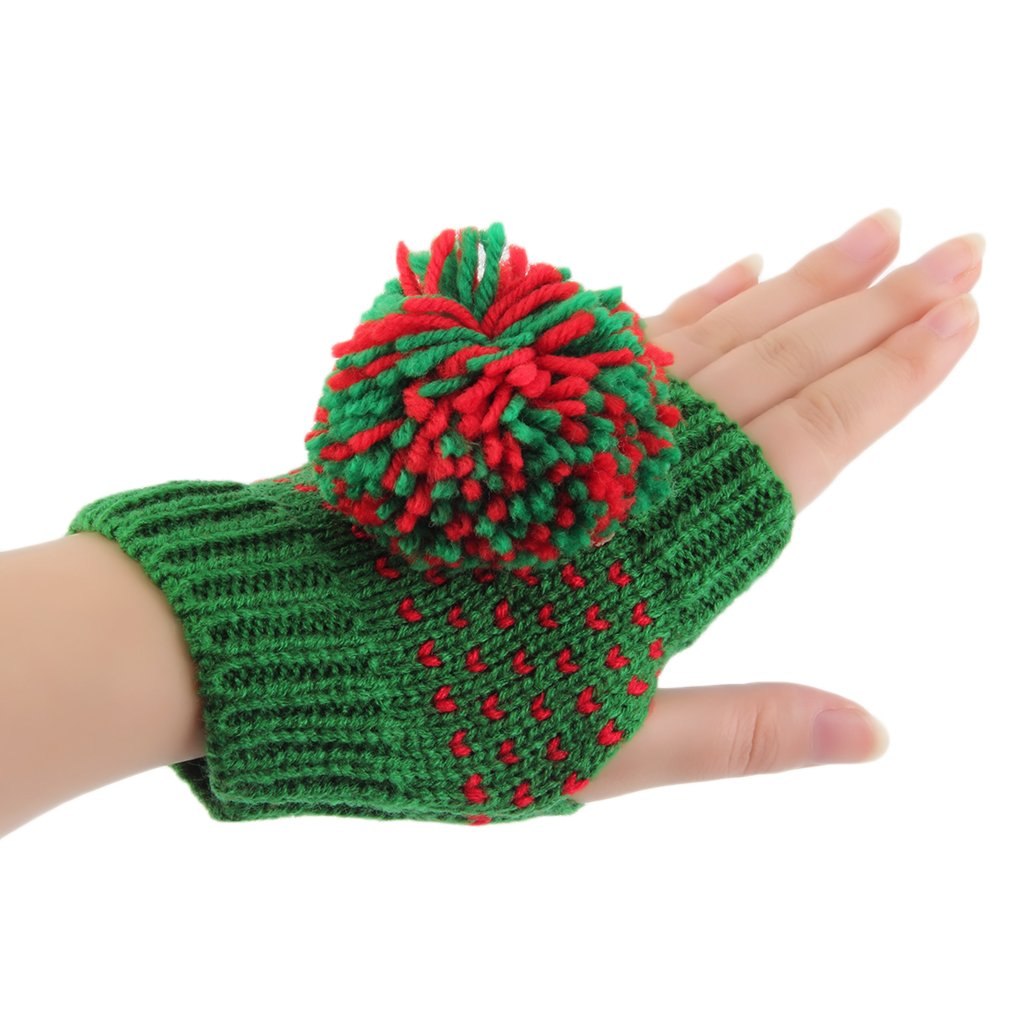 Warm Winter Women's Ball Of Yarn Knitted Thick Wool Half Finger Gloves
