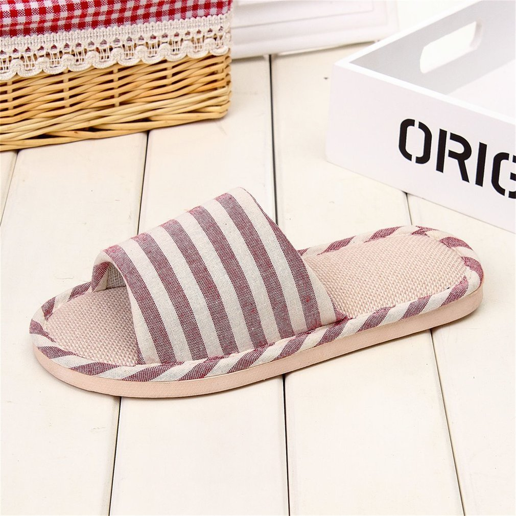Fashion Comfortable Anti-skid Slippers Striped Linen Indoor Home Floor Slipper