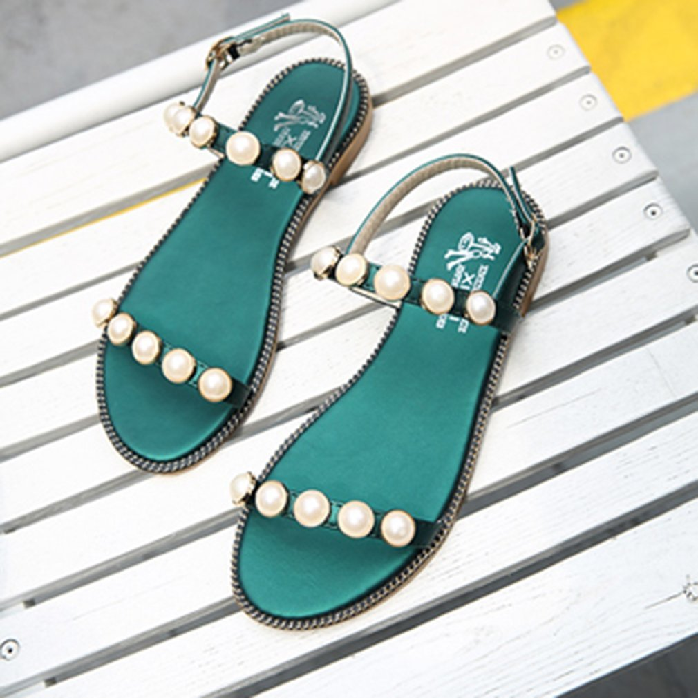 Fashion Imitation Pearl Students Summer Sandals Peep Toes Girls Shoes Comfortable All-match Flat Soled Female Sandals