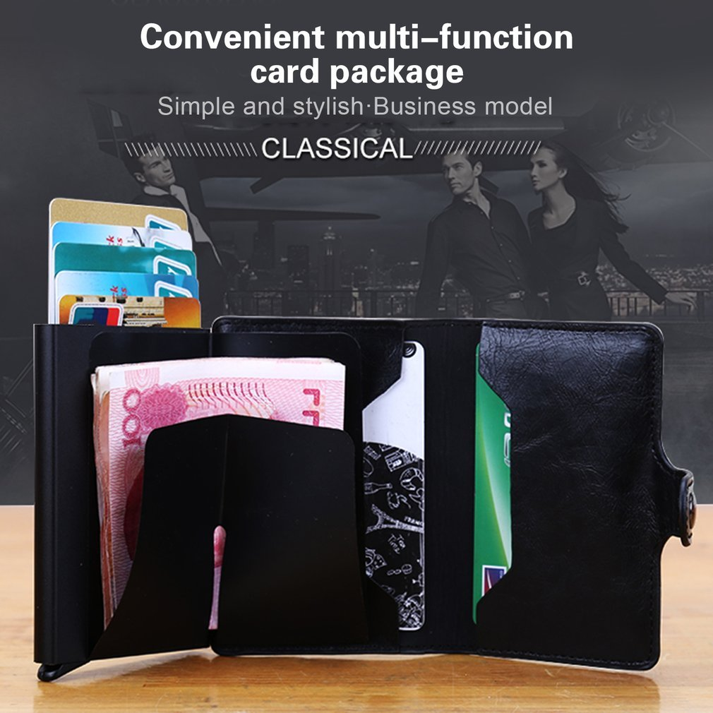 Business Style Men Women PU Leather Card Holder Wallets ID Cards Credit Card Holders Unisex Organizer Purse Case