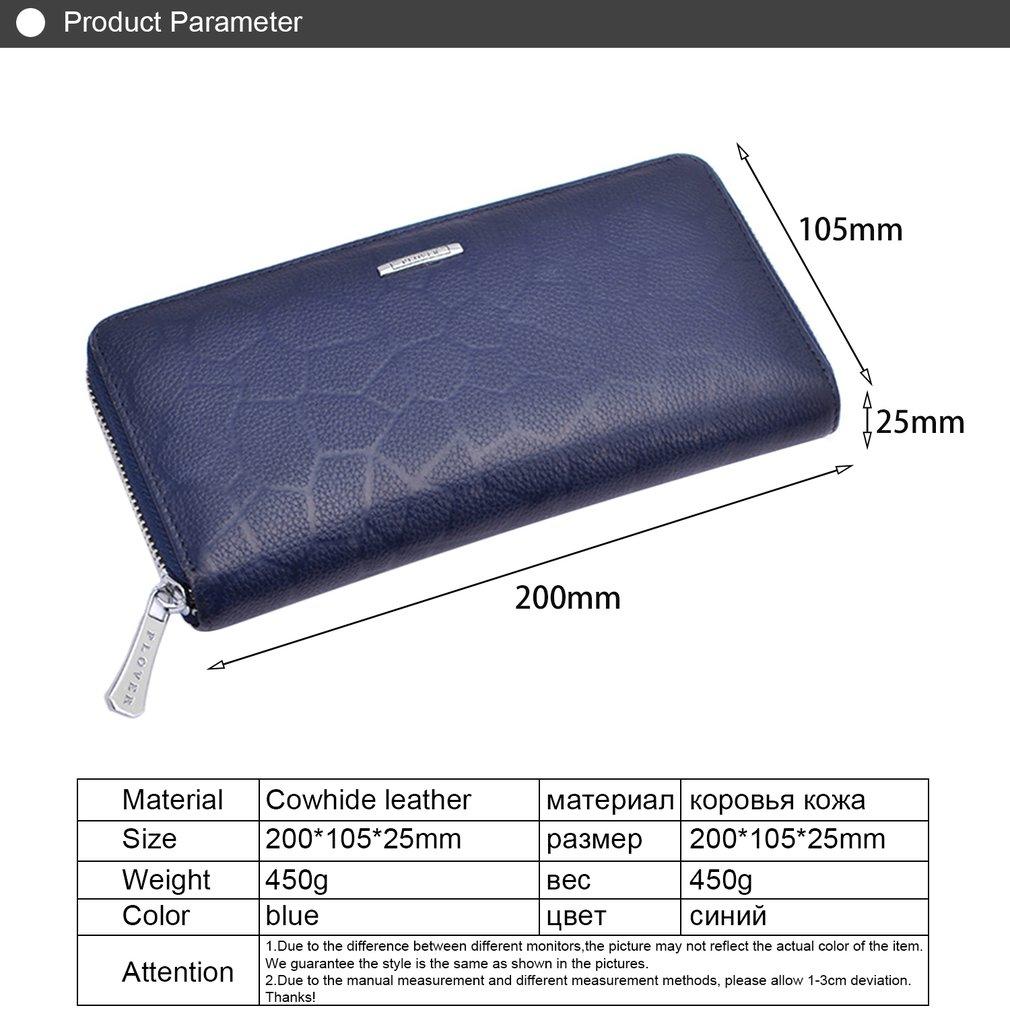 PLOVER GD6913-L Long Handbag Cowhide Leather Wallet Zipper Purse Card Holder