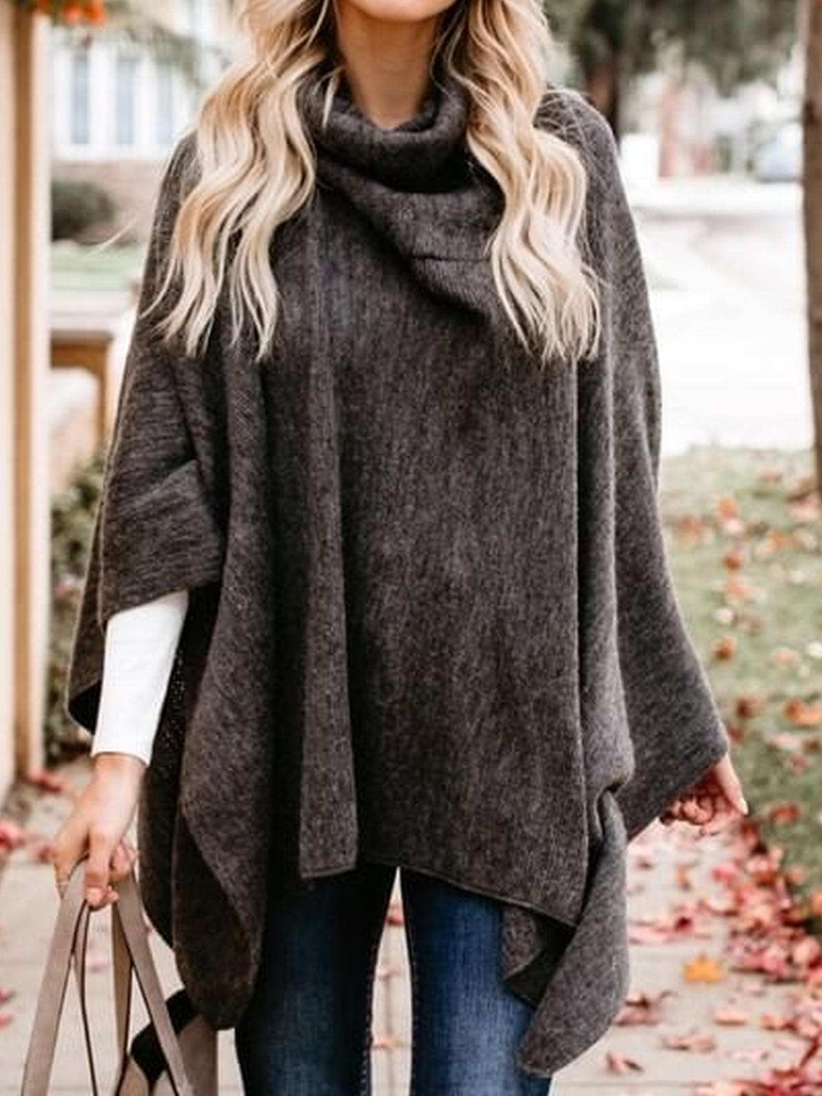 Casual Solid Cowl Neck Cotton-Blend Outerwear