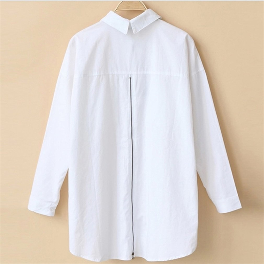 Autumn Women Lapel Loose Long Sleeved BF Style Cotton Shirt with Bank Zipper