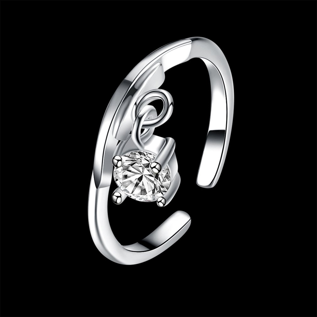 Libra Series Women Engagement Open Rings Zircon Decoration Wedding Ring